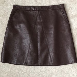 Zara faux leather skirt. Color is a dark ox blood